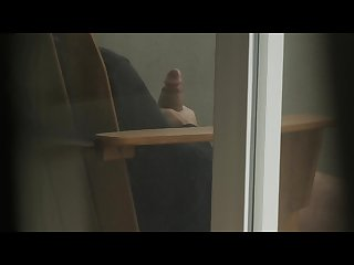 Voyeur spying on thick cock balcony jerk off