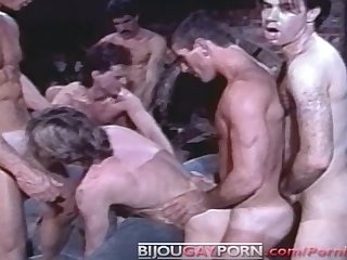 6 man orgy from 80 s gay porn cabin fever