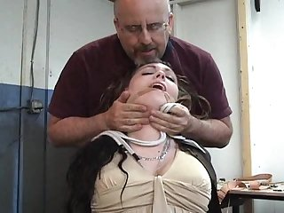 Strangled chair tie cleave gagged