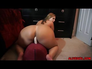 Bootylicious bbw megan with natural huge boobs rides on big dildo alivegirl