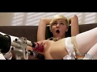 Crazy hot babe fucked by a machine