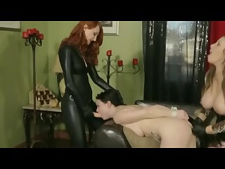 Lesbian threesome bondage strapon