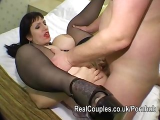 Large breasted mature takes an ass fucking from hubby