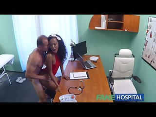 Fakehospital tight ebony pussy gets 2 cum loads from doctors fat cock