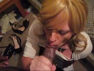 Gorgeous mature crossdresser taking black cock