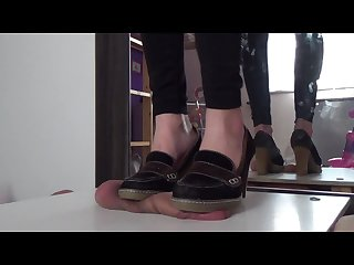High heels cock crushing