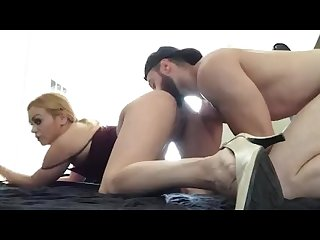 Bearded muscular stud roughly fucks blonde milf in missionary and rims her!