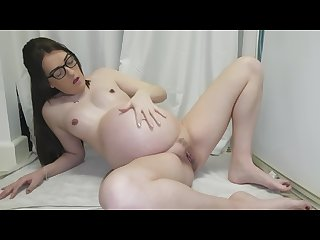 Pregnant oil masturbation squirt