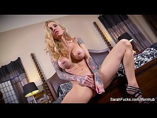 Sexy tattooed milf sarah jessie uses a toy on her wet pussy
