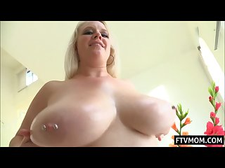 Chubby big tits milf with pierced nipples