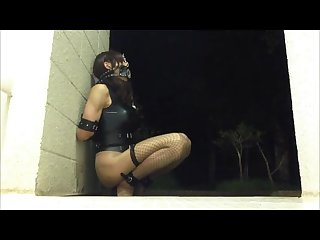 Hot amateur cd slave shaped in thrilling outdoor latex bondage