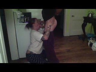 Real milf kitchen blowjob gargling cum sluttyskittles