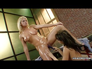 Busty blonde seduces a horny brunette