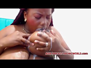 Ebony Lactating boobs bbw sucking squirting breast milk from huge tits