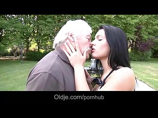 Lucky old man involved in sex with dirty brunette