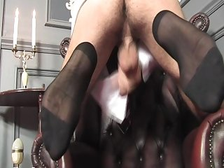Cute guy jacks off and shoots a load on his sheer socks