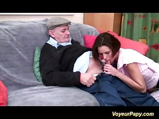 Horny voyeur papy fucks nymph in threesome