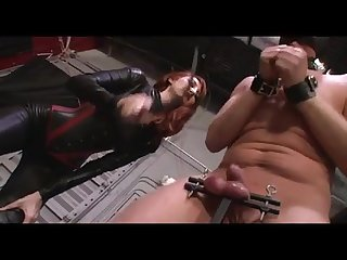 Mistress punishing slaves balls brutally and allow him to cum on her boots