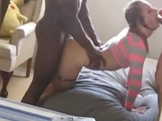Pigtailed slut fucked from both ends