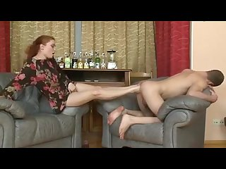 Cute redhead domina fisting and footing
