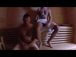 Older daddy and hunk bareback in sauna