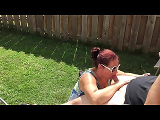 Getting dick sucked in backyard and covering wife in cum summer heat 2016