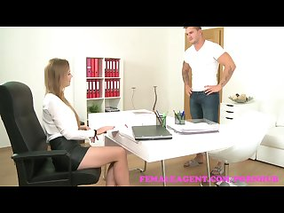 Femaleagent amazing casting ends with studs spunk all over sexy agents tits