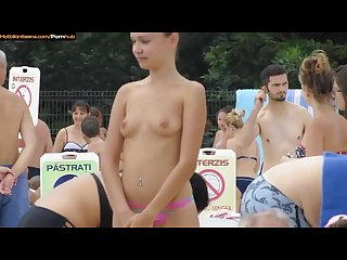 Hot bikini teens at the pool candid voyeur hd