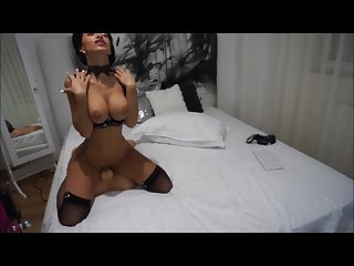 Anisyia livejasmin riding and sucking huge cock in black lingerie and heel