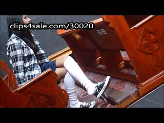 Schoolgirl caught playing with shoes in church knee socks foot fetish