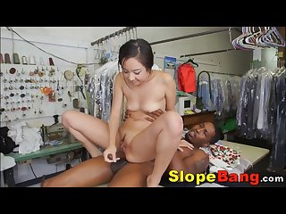 Shy Asian Anal Pounding & Spitroasted Two Giant Black Dicks