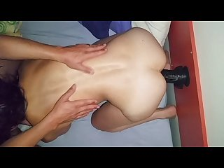 Wife threesome training with big black dildo