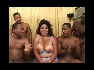 Nikki santana chubby and busty interracial gangbang