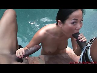 Asian girl Niya yu takes 2 big black snake sized cocks