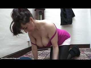 Downblouse saskia S boobs are too big so they fall out of her t shirt 1