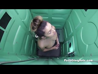 Latina swallows cum in parking lot gloryhole