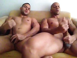 2 friends jerking off to porn
