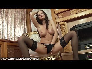 Brunette pornstar sandra shine playing naughty in black pantyhose