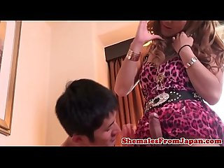 Assfucked japanese tgirl blows her cumload