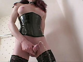 Tranny stroking and pissing