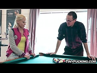 Petite blonde Teen fucks after losing game of Pool