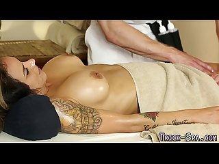 Busty milf sucks masseur