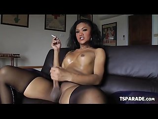 Horny asian tgirl ming toyfucks her butt