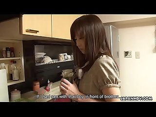 Slutty Japanese sister receives a messy creampie after the threesome