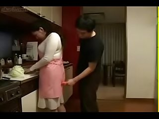 Japanese Mom and Son in Kitchen Fun