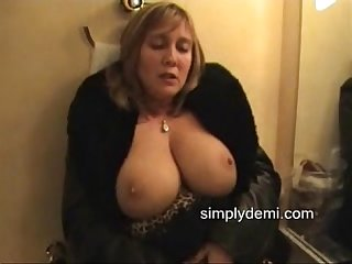 Busty wife in stockings masturbating in this home made porn film