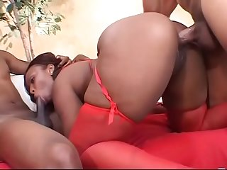 Big booty ebony skyy black gets double penetration action and creamy finale