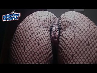 Fishnet catsuit perfect round ass and cameltoe