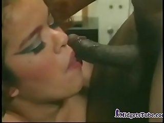 Midget Lady Fucked By Two Guys
