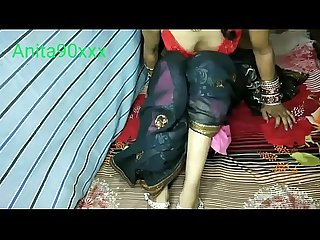 Indian Anita bhabi just married fucked in black saree with Desi video